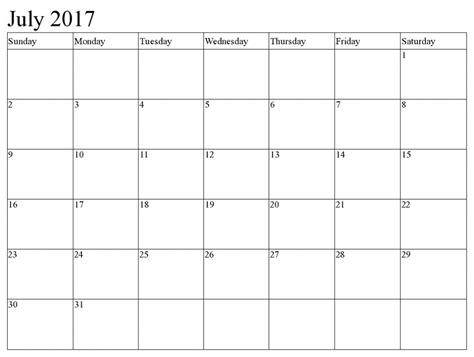 printable calendar 2017 fillable july 2017 calendar fillable