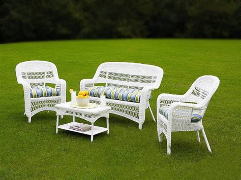 White Patio Furniture Tortuga Portside Coastal White Wicker Conversation Set