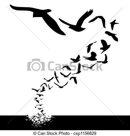 bird in flight silhouette clip art (60+)