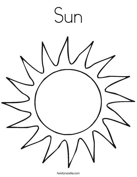 Template Of A Sun by Sun Coloring Page Twisty Noodle