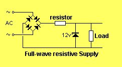 power across a resistor the power supply