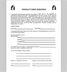 Contract Labor Agreement Template by Contract For Contract Labor Free Printable Documents