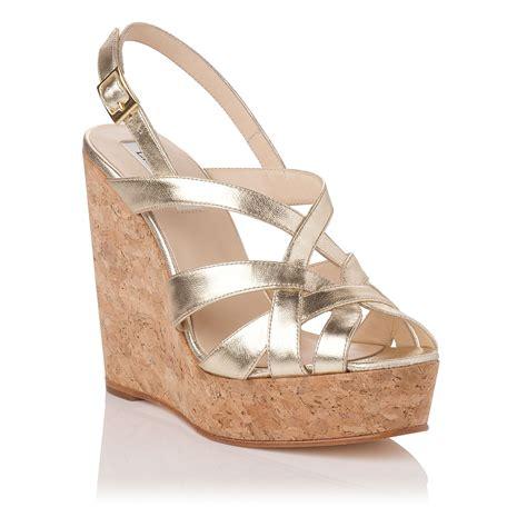lk rubina metallic leather wedge shoes in gold lyst