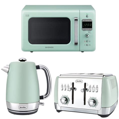 Toaster Kettle And Microwave Set Mint Green Daewoo Retro Design Microwave Breville Kettle
