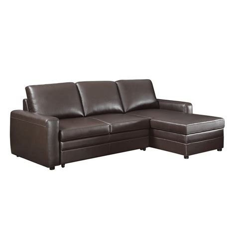storage sleeper sofa leather sleeper sofa with storage in brown 503870