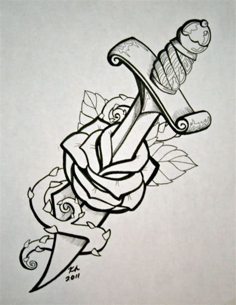 rose stencil tattoo black outline dagger in stencil