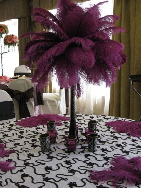 feather wedding table centerpiece masquerade pinterest
