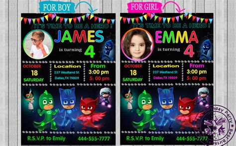 pj mask birthday invitation  bestbirthdayparty  zibbet