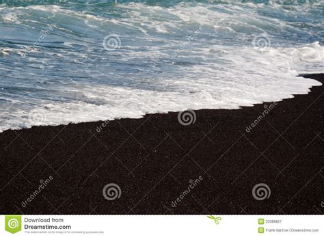 volcanic sand black volcanic sand beach royalty free stock photography
