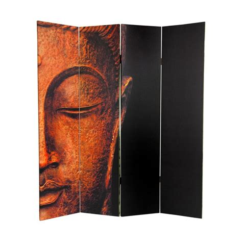 buddha room divider screen shop furniture buddha and ganesh 4 panel multicolor fabric folding indoor privacy