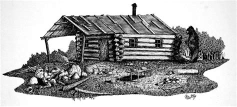Drawings Of Log Cabins by Log Cabin Drawing By Olin Mckay