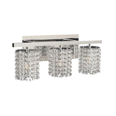 bathroom crystal light fixtures shop plc lighting 3 light rigga polished chrome crystal