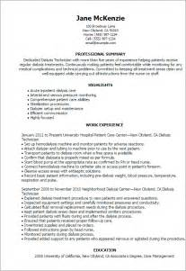 Dialysis Technician Sle Resume by Professional Dialysis Technician Templates To Showcase Your Talent Myperfectresume