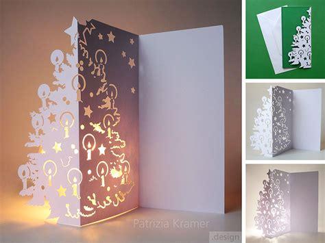winterzauber aus papier karte mit lichteffekt trize