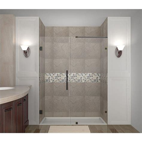 Bronze Shower Doors Frameless Aston Nautis 58 In X 72 In Completely Frameless Hinged