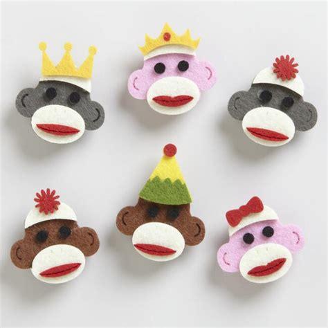 sock animals greenwich market felt sock monkey set of 6 world market