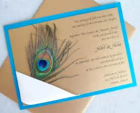 peacock wedding invitation gold teal aqua ribbon navy