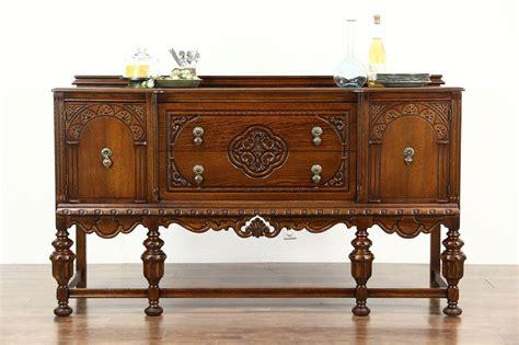 Sideboard Antique by Tudor Design 1925 Antique Carved Oak Sideboard Server Or