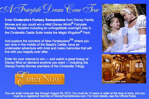 Fantasy Sweepstakes - cinderella s fantasy sweepstakes walt disney world fairytale fantasy vacation