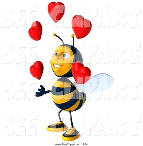 juggler 3d pattern clip art of a friendly 3d bee character juggling hearts by