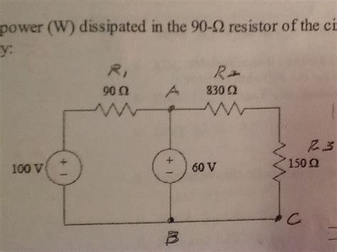 power dissipated in a resistor the power dissipated in the 90 ohm resistor of the chegg
