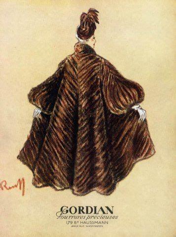 gordian furs 1947 fashion illustration fur coat furs