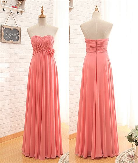 floor length empire coral bridesmaid dress on luulla