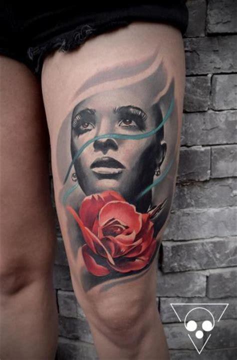 portr 228 t blumen rose oberschenkel tattoo von michael litovkin