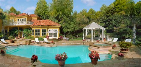 How To Add Privacy To Backyard Stock Photo Day View Of A Residential Mansion Backyard
