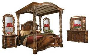 King Size Canopy Bedroom Sets 5 Villa Valencia King Size Canopy Poster Bedroom Set Bedroom Furniture Sets