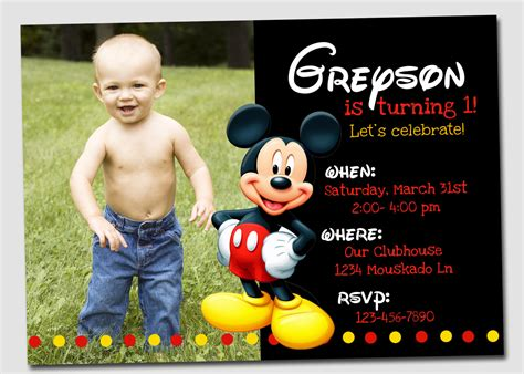 Free Mickey Mouse Birthday Invitations Gse Bookbinder Co