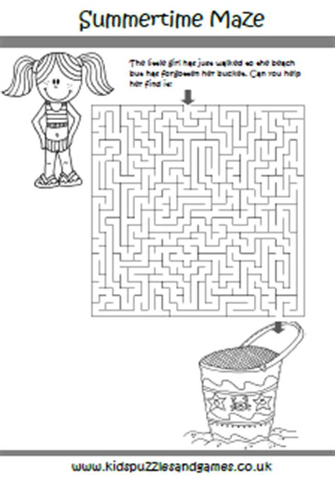 printable beach maze summer kids puzzles and games
