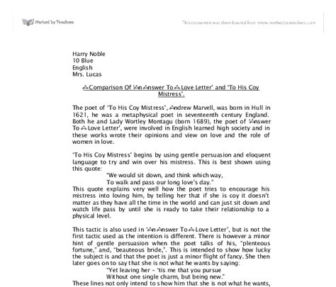 Letter Response To His Coy A Comparison Of An Answer To A Letter And To His Coy Gcse Marked