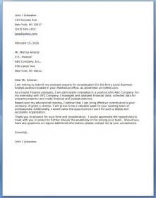 Entry Level Cover Letter Sle by Business Analyst Cover Letter Entry Level Resume Downloads