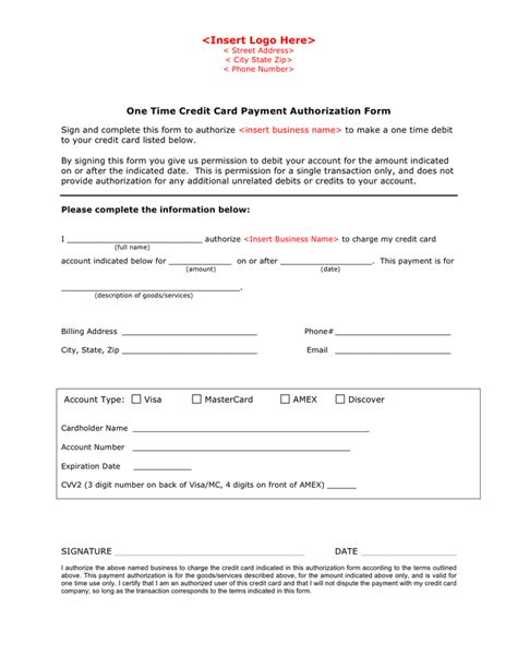 credit card payment authorization form template in word