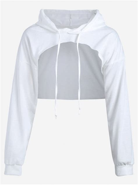 Cut Out Sleeve Crop Hoodie White M by Cut Out Drawstring Crop Hoodie White Sweatshirts L Zaful