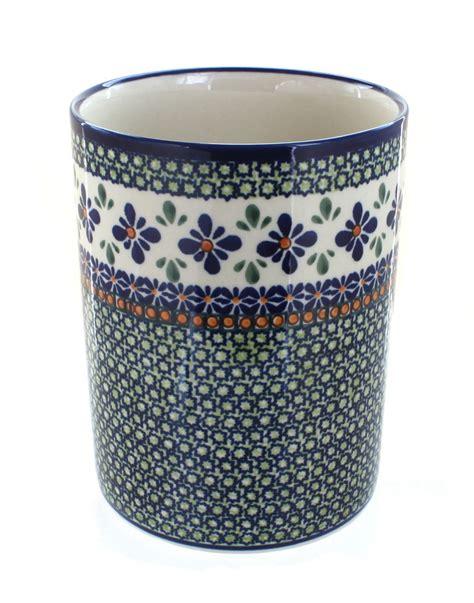 Large Mosaic Canister blue pottery mosaic flower utensil jar