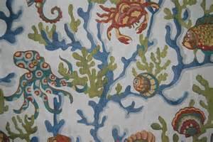 crab walk aqua fabric coastal upholstery fabric by