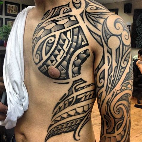 clean tattoos designs clean polynesian tribal chest and sleeve