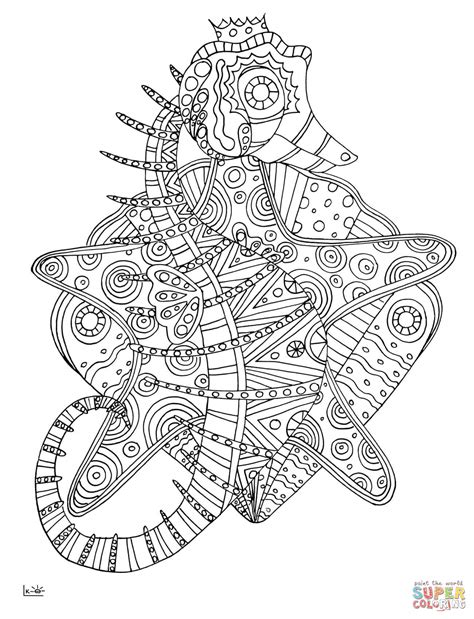 tribal pattern coloring pages seahorse with tribal pattern coloring page free