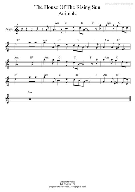 the animals house of the rising sun piano sheet music super partituras the house of the rising sun the