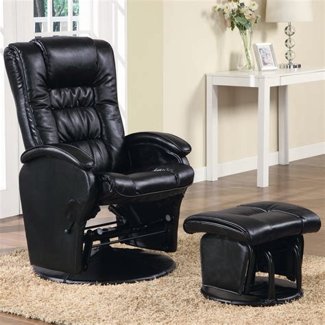 reclining glider rocker ottoman set coaster recliners with ottomans casual leather like glider