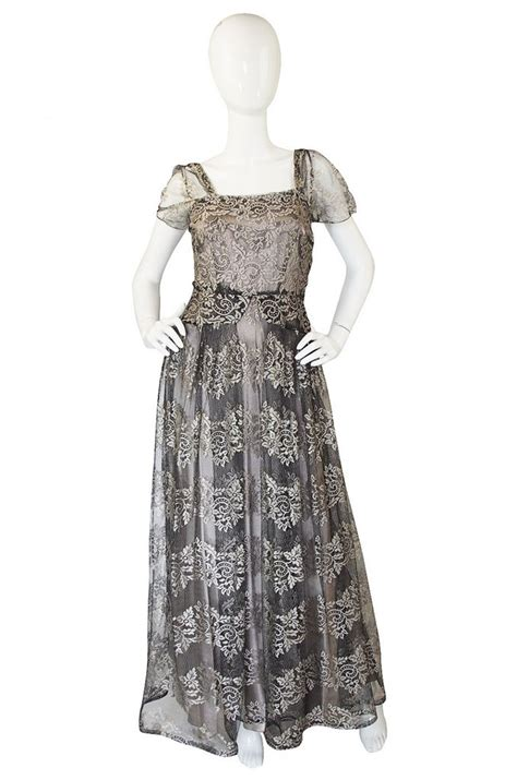 Cut Out Neckline Dress Black Size Sml 1940s stunning silver lace net gown shrimptoncouture