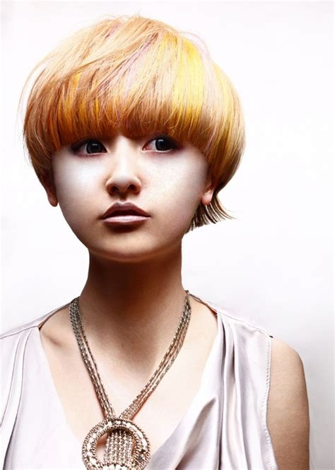 short hairstyles like mushron mushroom haircut for asian girls bold highlighted bowl