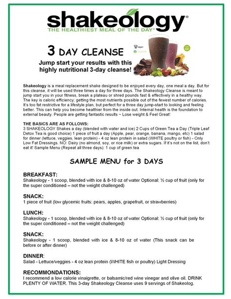 Three Day Detox Diets by Shakeology Cleanses Fit Fab Nh