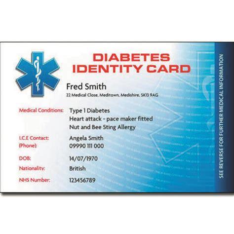 diabetic wallet card template diabetes id card