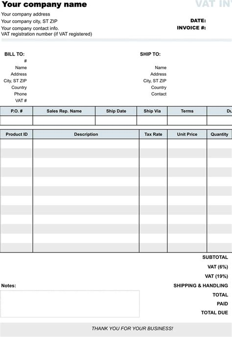 download vat invoice template 1 for free formxls