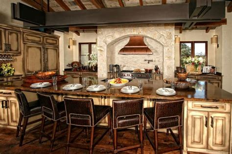 elegant kitchen island design with exclusive leather chairs for italian kitchen ideas with