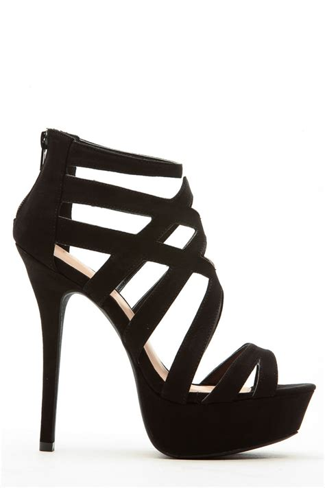 Heels Shoes by Black Faux Suede Cross Platform Heels Cicihot Heel