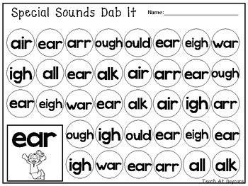0008185778 special sounds level kg 10 special sounds dab it worksheets kindergarten 1st